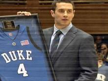 Orlando Magic guard J.J. Redick's Duke jersey is retired inside Cameron Indoor Stadium.