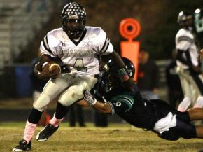 #4 Keith Marshall rushed for 120 yards in Leesville Road High School's 32-7 victory over Millbrook High School on Friday, Oct. 22, 2010.