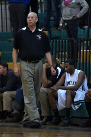 Enloe head coach Tommy Moore during the game as Garner edges Enloe in Overtime 64 to 61 on Tuesday December 7, 2010.