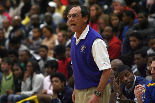 Garner coach Eddie Gray during the Garner-Strake Jesuit Prep game at the HighSchoolOT.com Holiday Invitational at Broughton High School in Raleigh, NC on December 28, 2011 (Photo by Jack Morton).