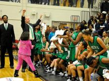 The Myers Park girls from Charlotte held off a Millbrook rally to claim the Mix 101.5 bracket title at the 2011 HighSchoolOT.com Holiday Invitational. (Photos by Suzie Wolf)