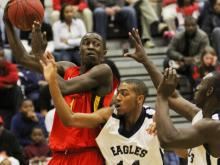 #1 Theo Pinson scored 14 points and grabbed 8 rebounds in Wesleyan Christian's 56-50 victory against Upper Room Christian in the semifinals of the Summit Hospitality bracket of the 2011 HighSchoolOT.com Invitational Basketball Tournament in Raleigh on Friday, Dec. 29 (photo by Will Okun).