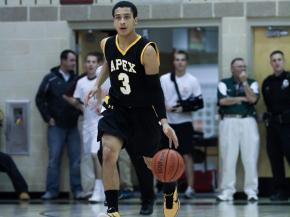 Apex's  T.J. Evans (# 3) lead all scorers with 23 as Apex defeats Green Hope 68 to 45 at Green Hope Tuesday night January 24, 2012.