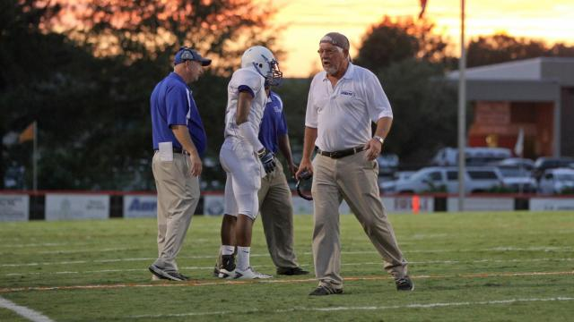 Clayton Head Coach Gary Fowler is not happy with the results of the last paly as Fuquay defeats Clayton 14-13 Friday night August 24, 2012.