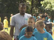 Washington Wizards point guard John Wall attended the first day of school at Hunter Elementary School in Raleigh.