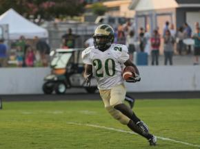 South Johnston's Quentin Williams #20 runs back the kick off as Clayton Steamrolls South Johnston 41 to 14 Thursday night August 30, 2012. (photo by Jack Tarr)