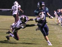 Leesville Road's Braxton Berrios #8 scored five touchdowns as Leesville Road runs over Wakefield 52 to 24 Friday night September 28, 2012. (Photo by Jack Tarr)