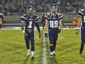 Heritage Captains for the coin toss. Wakefield tames Heritage 42 to 21 Friday night October 26, 2012. (Photo by Jack Tarr)