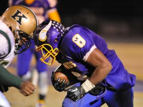 Tarboro Travonne Marshall #8  during tonights game. Tarboro defeats Kinston 48-14 in Tarboro North Carolina. (Photo by Anthony Barham)
