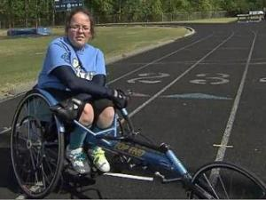 Catherine Armstrong, racing in her wheelchair, is a champion many times over. And while many people may not recognize her as an athlete on first glance, she quickly proves otherwise.