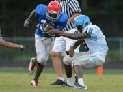 Football: Gibbons, Panther Creek visit Sanderson for scrimmage (Aug. 13, 2014)