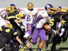 Tarboro's  Todd Gurley II (#1) runs the ball as Tarboro defeats Lincolnton 39 to 36 at the 2011 2AA State Championship game Saturday December 3, 2011 at Carter-Finley field in Raleigh, NC.