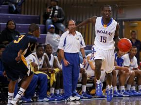Garner's #15 Demarcus Sanford brings the ball up the court at the HighSchoolOT.com  Holiday Invitational Tournament December 26, 2012. (Photo by Jack Tarr)