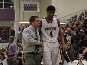 Isiah Hicks (4) quick talk with Coach Brunelli. WRAL HS OT Invitational Basketball Tournamnet 2012. Wednesday evening J.F. webb Warriors over Clinton Dark Hourses 88-67. Photo by CHRIS BAIRD
