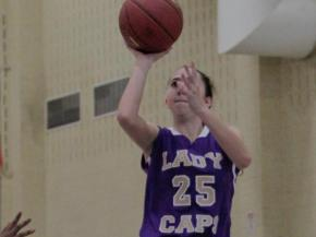 Broughton's Megan Sullivan (25) pulls the jumper in their game against Hillside in the HighSchoolOT.com Holiday Invitational.  The Capitals beat the Hornets 87-65 (photo by Wes Hight).