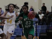 Myers Park&#039;s Aliyah Mazyck (23) dripples the ball to the goal at the HighSchoolOT.com Holiday Invitational at Cary Academy Thursday.  The Myers Park Mustangs defeated the Panthers 63-58 (photo by Wes Hight).