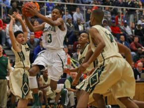 Kinston's #13 Brandon Ingram drives to the basket at the HighSchoolOT.com  Holiday Invitational Tournament December 27, 2012. (Photo by Jack Tarr)