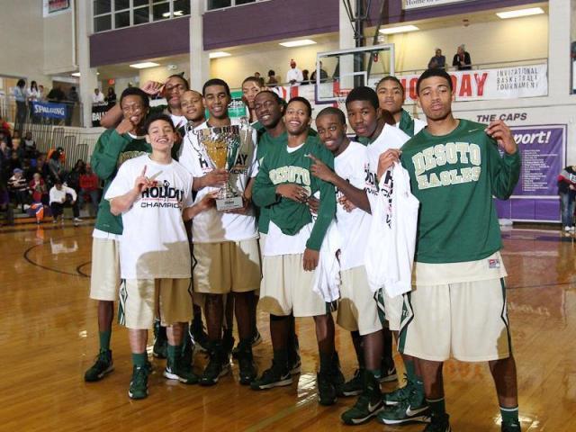 DeSoto Champions! WRAL HighSchoolOT.Com Invitational Basketball Tournament, 12.29.12. DeSoto over St Joseph's 45 to 42. Photo by CHRIS BAIRD