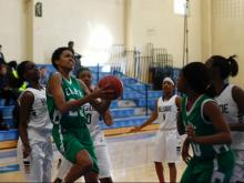 Cary got 36 points and 27 rebounds from Duke signee Azura Stevens Friday morning to down Hillside 61-58 in consolation play of the Mix 101.5 Girls Bracket.