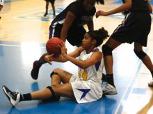 Greensboro Dudley built a big lead and grinded out a 27-26 win Friday over Durham Riverside in consolation play of the Mix 101.5 Girls Bracket at the 2013 High SchoolOT.com Holiday Invitational.