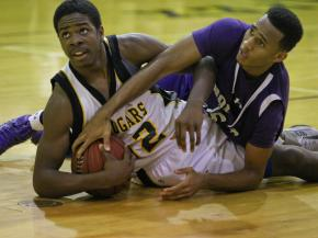 Apex's #32 Ian Boyd grabs a loose ball during the game Tuesday February 5, 2013  (Photo by Jack Tarr)