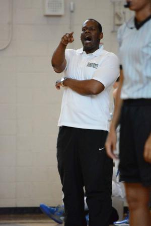 B&G Jamboree: Leesville Road vs. Cardinal Gibbons (June 14, 2013)  Cardinal Gibbons basketball coach Marque Carrington.