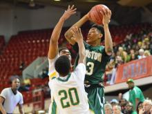 Brandon Ingram (13) with the ball. Kinston High School make it a 3-Peat with a win over North Rowan 67 - 57 for the NCHSAA State Championship Title at Reynolds Coliseum. (Photo By: Beth Jewell)