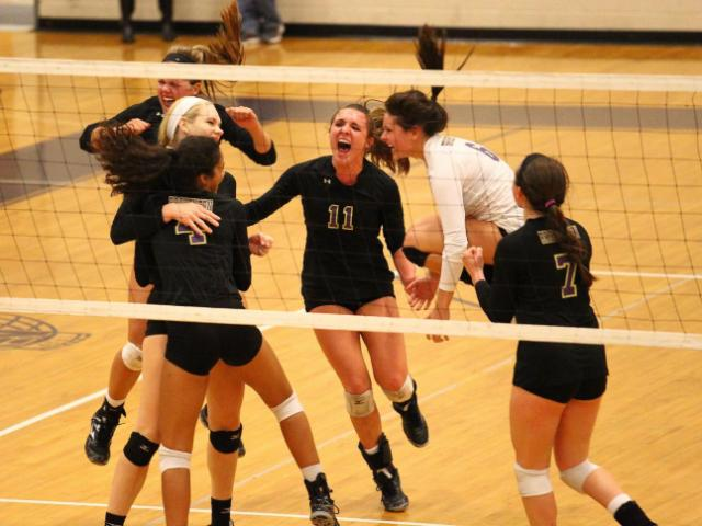 We WON! D.H. Conley High School visits Broughton High School in Raleigh N.C. on Thursday October 23, 2014 for round three of playoff volleyball. Broughton took the match by a score of 3 to 1 and will advance in the playoffs. (Chris Baird / WRAL Contributor).