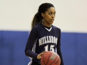 Millbrook's #15 Mykia Jones brings the ball up court as Leesville Road hosted Millbrook Friday night January 11, 2013. (Photo by Jack Tarr)