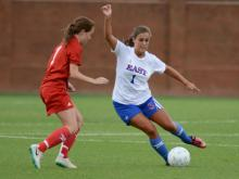 The West All-Star girls defeated the East 4-1 in the East-West All-Star soccer game Tuesday night in Greensboro.