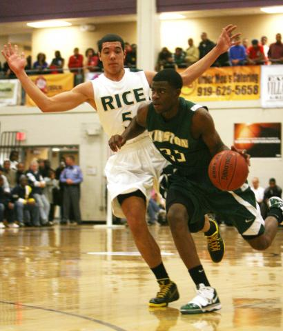#35 Reggie Bullock scored 24 points in Kinston High School's 55-54 loss to Harlem Rice High School (NY) in the championship game of the Shavlik Randolph Foundation Invitational in Raleigh on Wednesday, Dec. 30. (photo by Will Okun)