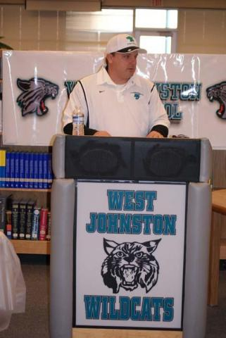 Randy Ragland takes questions from players as he is introduced as West Johnston's next head football coach on Feb. 11, 2010 (Photo by: Nick Stevens)