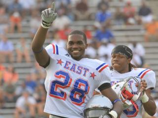 #28 Isaiah Johnson of Panther Creek High School played both ways for the East squad in the 2011 NCCA East-West All-Star Football game held in Greensboro on Wednesday, July 20.  The West squad won 19-7.  (photo by WIll OKun)