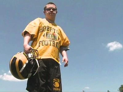 Brett Bowden's passion is to play high school football, but state rules say he can no longer play because he is too old.