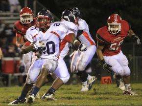 #20 John Brown rushed for 95 yards and a touchdown in Southern Durham High School's 41-6 victory against Durham Jordan High School on Friday, Sept. 20. (photo by Will Okun)