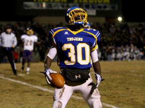 Garner senior Anthony Tucker #30 celebrates after catching a long  pass as Garner holds off Jack Britt 34 to 27 Friday night November 25, 2011 and advance to the NCHSAA State Championship.