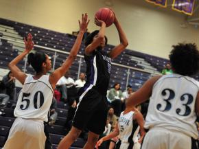 Mone' Jones (51) takes a shot as Millbrook faces Riverside during the 2011 HighSchoolOT.com Holiday Invitational basketball tournament in Raleigh, N.C., Tuesday, December 27, 2011.
