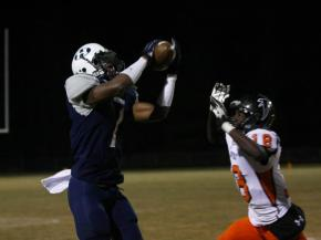 Trevion Thompson (1) makes a catch on the sideline during the Southeast Guilford vs. Hillside game on November 2, 2012 in Durham, North Carolina.