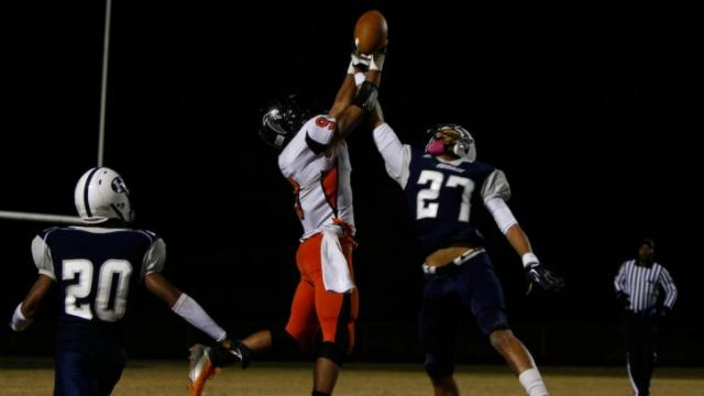 Kalen McCain (27) breaks up a pass during the Southeast Guilford vs. Hillside game on November 2, 2012 in Durham, North Carolina.
