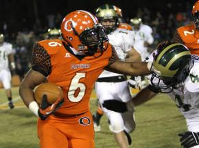 #6 Jalen Pittman rushed for 96 yards and a TD in Orange High School's 56-13 victory over South Johnston High School in the second round of the 3-A NCHSAA football playoffs on Friday, Nov. 9 (photo by Will Okun).