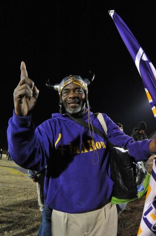Tarboro Vikings #1 fan celebrates after tonights game. Tarboro defeats South Columbus 46-0  in Tarboro,North Carolina. (Photos By Anthony Barham)