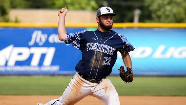 Justin Brown (22) of South Granville. East Rutherford Cavaliers take the  2A State Championship with a win in Game 3 of series over South Granville Vikings, 10-5.Sunday June 5,  2016, Burlington, NC.  (Photo: Karl Fisher / WRAL contributor)