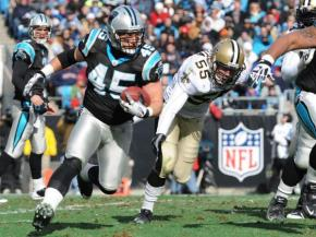 Panthers fullback Brad Hoover rounds the corner during the Carolina vs. New Orleans game, Sunday, January 3, 2010 at Bank of America Stadium. (Photo by: Will Bratton)
