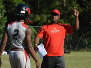 Middle Creek hosted a 7-on-7 on Thursday, June 20, 2013.  Southern Durham football coach Adrian Jones