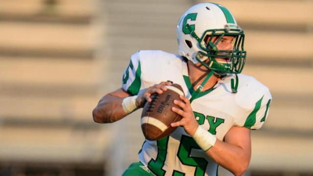 Scott Kinsey (15) back to pass.  Cary traveled to Garner for tonights game.  The final score 42 to 28 with Garner winning.