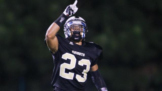 Knightdale's #23 Marquavious Johnson celebrates a touchdown as Knightdale defeats Clayton 52 to 27 Friday night October 4, 2013. (photo by Jack Tarr 2013)