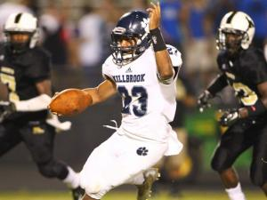 Trey Threatt (23) of the Millbrook Wildcats dancing! Millbrook High School meets Knightdale High School on Firday August 29, 2014 in Knightdale. A late score saves Knightdale from a shut out as Millbrook walks away with a 30 to 7 victory. (Chris Baird / WRAL Contributor).