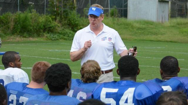 NFL Commissioner Roger Goodell visited the Wake Forest High School football  practice to promote the USA
