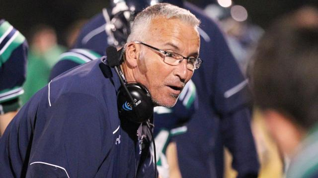 Head coach Brad Wilson of Leesville Road High School. Wake Forest High School faces Leesville High School on Firday October 23, 2015. Wake Forest jumped out to a quick lead and never let up winning by a score of 28 to 6.(Chris Baird / HighSchoolOT.Com).