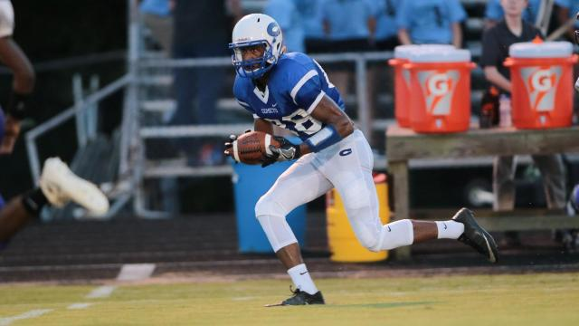 Devin Carter (88) of Clayton High School. Corinth Holders visits Clayton on Friday August 26, 2016 for week 2 action. Calyton surpasses the Pirates by a score of 40 to 35. (Chris Baird / HighSchoolOT.Com)